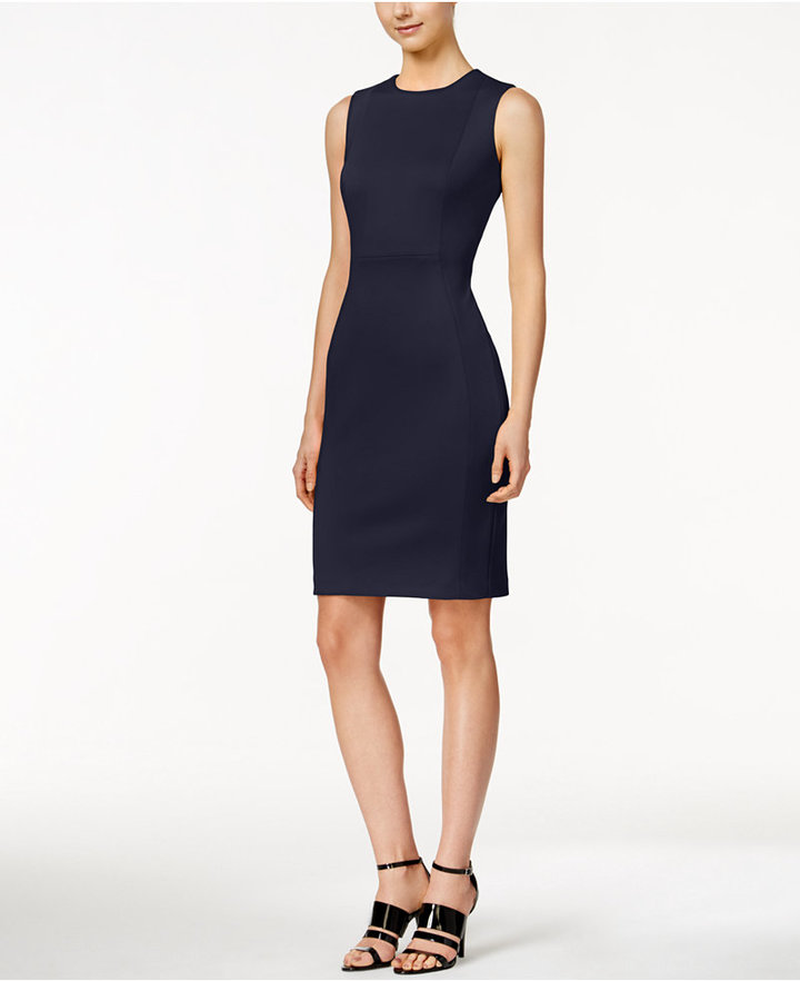 Calvin Klein Scuba Crepe Sheath Dress 3