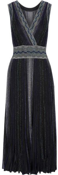 Missoni - Wrap-effect Pleated Metallic Crochet-knit Midi Dress - Black