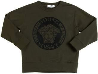 Versace Logo Flocked Cotton Sweatshirt