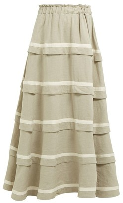 BEIGE White Story - Bliss Tiered Linen Maxi Skirt - Womens