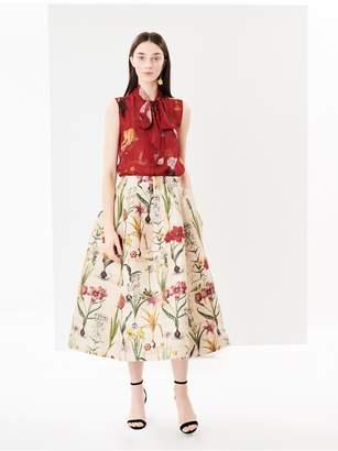 Oscar de la Renta Flower Harvest Textured Raw Silk Skirt