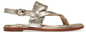 Cole Haan Women's Anica Scallop Metallic Leather Thong Sandals