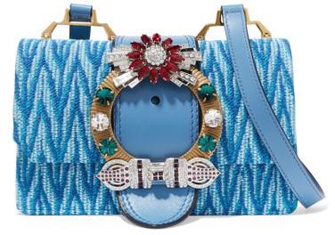 Miu MiuMiu Miu - Madras Embellished Canvas And Leather Shoulder Bag - Blue