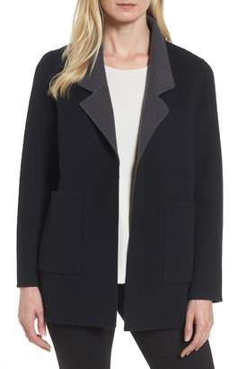 Eileen Fisher Double Face Brushed Wool Notch Collar Jacket