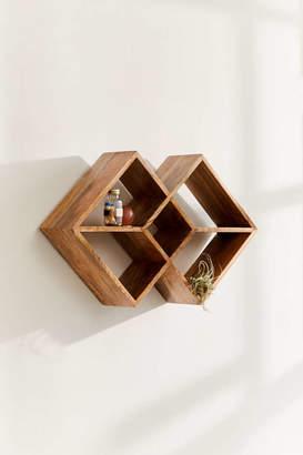 Double Square Wood Wall Shelf