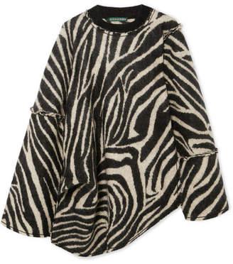 ALEXACHUNG Oversized Asymmetric Zebra-intarsia Mohair-blend Sweater - Black