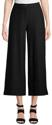 Eileen Fisher High-Waist Wide-Leg Cropped Stretch Crepe Pants, Plus Size