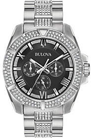 Bulova Men's Swarovski Crystal Black Dial Watch