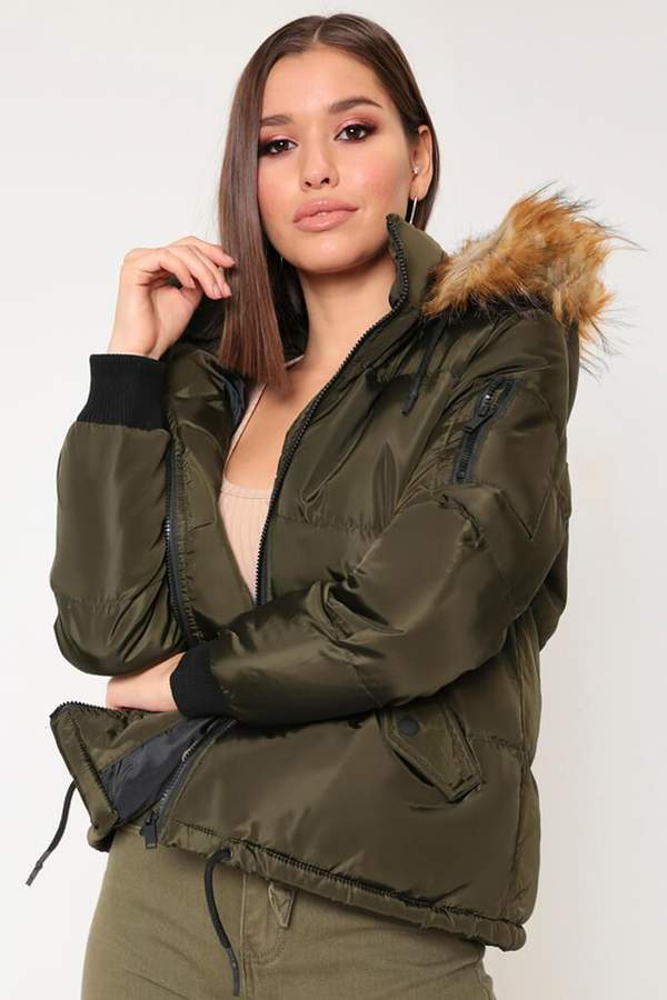 Isawitfirst Khaki Hooded Faux Fur Trim Cropped Padded Jacket