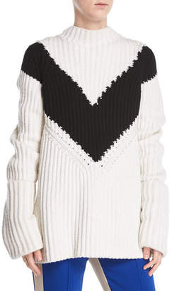 Derek Lam Mock-Neck Long-Sleeve Chevron Ribbed Cashmere Sweater