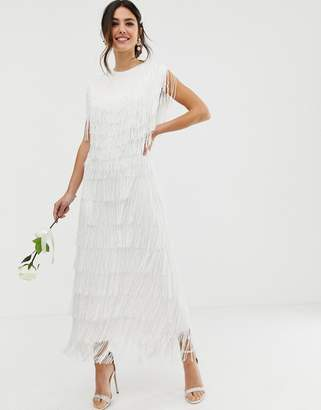 52844003d7bc Asos Edition EDITION fringe maxi wedding dress