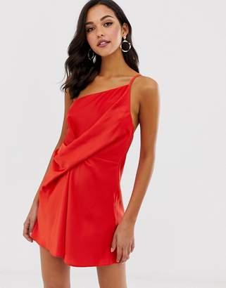 Asos Design DESIGN mini dress with one shoulder in satin