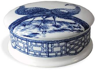 """Caskata 4"""" Chinoiserie Trinket Box - White/Blue"""