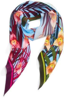 ROCKINS Monkey Orchid Skinny Silk Scarf