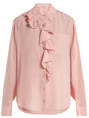 Stella McCartney Ruffle Trimmed Silk Blouse - Womens - Light Pink