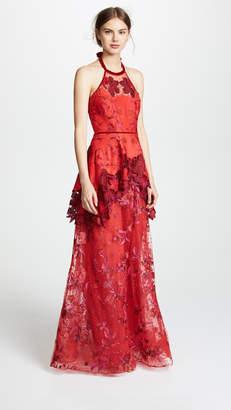 Marchesa Halter Embroidered Gown