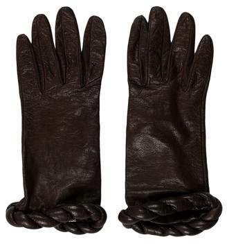 Valentino Leather Swirl-Trimmed Gloves