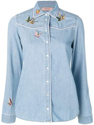 Twin-Set butterfly embroidered denim shirt