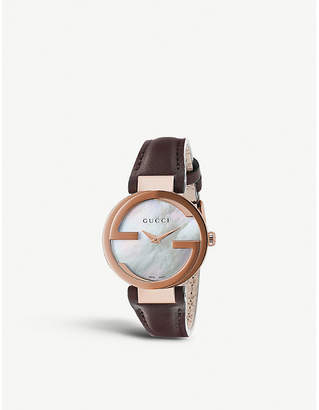 Gucci Interlocking-g collection rose gold-toned and leather watch