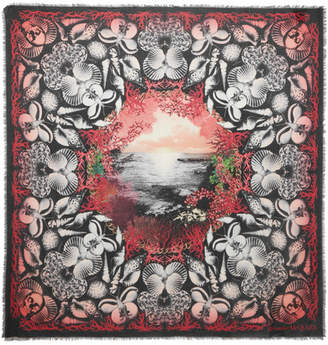 Alexander McQueen Dream Shell Printed Modal And Wool-blend Scarf - Black