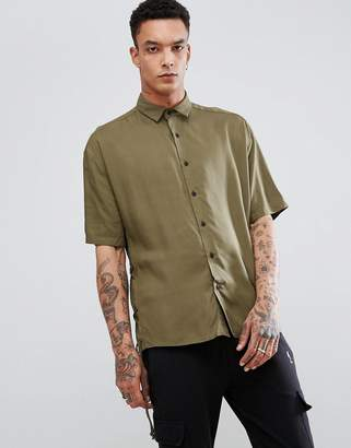 Asos Oversized Shirt With Lace Up Sleeves In Khaki