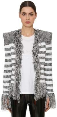 Balmain Fringed Iridescent Striped Knit Blazer
