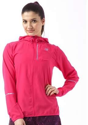 6a9ffe79f017d New Balance Womens Lightweight Water Resistant Hooded Running Jacket  Pomegranate