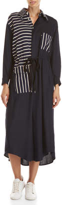 Avn Stripe Color Block Long Sleeve Maxi Shirtdress