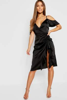 boohoo Petite Satin Cold Shoulder Ruffle Hem Midi Dress