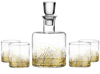 Luster 5-Piece Square Whiskey Decanter Set, Gold
