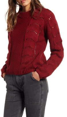 Woven Heart Pointelle Sweater