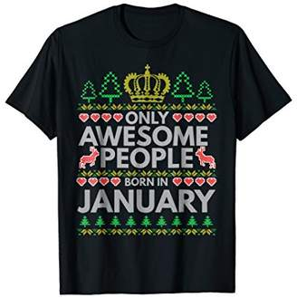 Only Awesome People Born In January Embroidery T-shirt