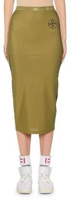Off-White Diagonal Midi Pencil Skirt