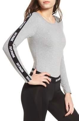 Ivy Park R) Logo Stripe Sleeve Bodysuit