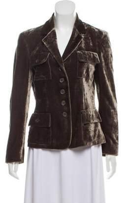 Michael Kors Structured Crushed Velvet Blazer Olive Structured Crushed Velvet Blazer