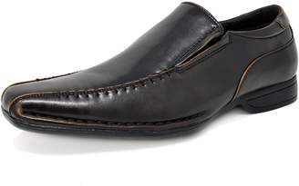 Andrew Marc BRUNO Bruno MARC GIORGIO-3 Men's Classic Square Toe Leather Lined Stretch Insert Slip On Dress Loafers Shoes Brown SIZE 7.5
