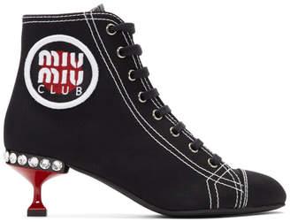 Miu Miu Black Gabardine Logo Patch Boots