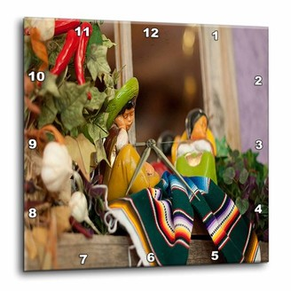 3dRose Hispanic Boy and Girl Ceramic Hanging on a Mirror with Hot Chilis and Leaves at Mexican Restaurant, Wall Clock, 10 by 10-inch