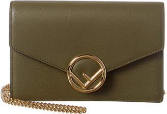 Fendi Logo Leather Wallet On Chain