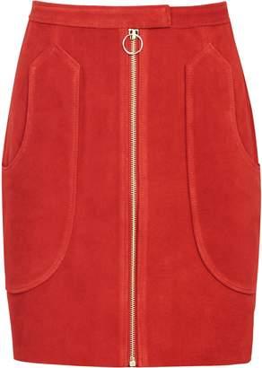 Reiss Keaton - Suede A-line Mini Skirt in Rust