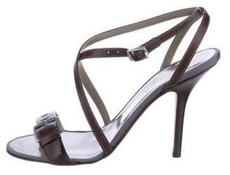 John Varvatos Leather Ankle Strap Sandals