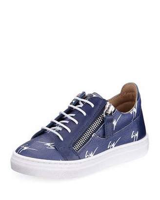 Giuseppe Zanotti Logo-Print Leather Low-Top Sneakers, Toddler Sizes 6M-9T