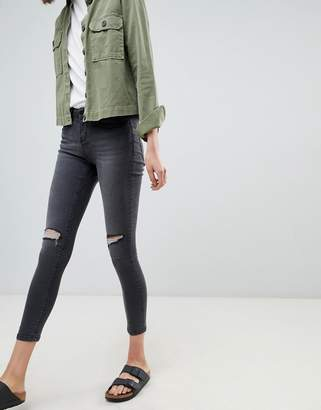 WÅVEN Freya Mid Rise Skinny Jeans With Knee Rips