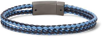 Prada Two-Tone Woven Leather And Gunmetal-Tone Bracelet