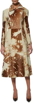 Norma Kamali Burnout Cowhide Leather Trench Coat