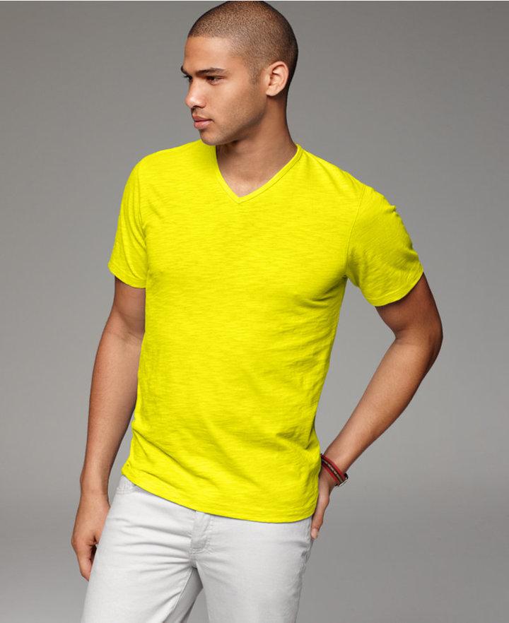 INC International Concepts T Shirt, Fashion Slub V Neck Tee