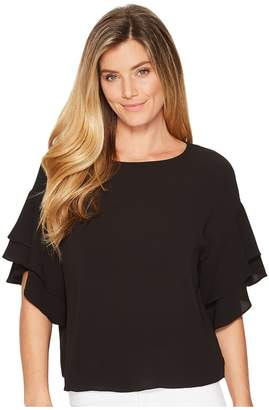 Vince Camuto Drop Shoulder Tiered Sleeve Textured Blouse Women's Blouse