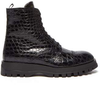 Prada Lace Up Crocodile Effect Leather Boots - Womens - Black