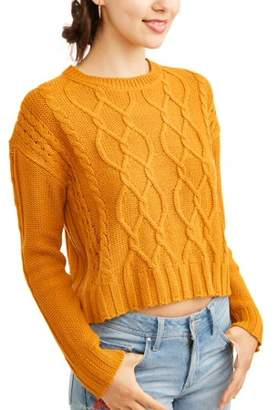 Derek Heart Juniors' Chunky Cable Knit Pullover Dolman Sleeve Sweater