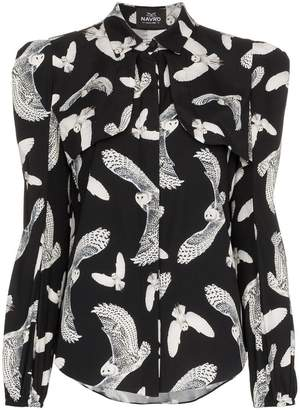 Navro owl print silk blend shirt
